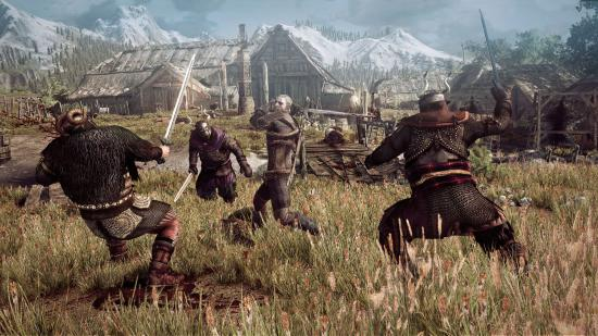 The_Witcher_3_Wild_Hunt_Geralt_fighting_multiple_opponents_in_a_village_in_Skellige.jpg
